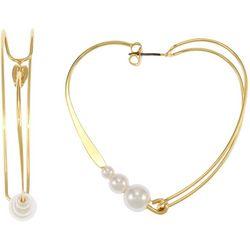 Bay Studio Wire & Pearl Heart Hoop Earrings