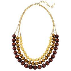 Bay Studio Wooden Bead Triple Row Goldtone Necklace
