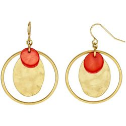 Bay Studio Coral Shell Disc Orbital Goldtone Hoop Earrings
