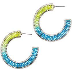 Bay Studio Flat Thread Woven C Hoop Earrings