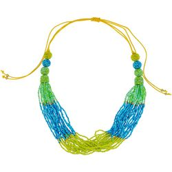 Bay Studio Blue Green Frontal Seedbead Necklace