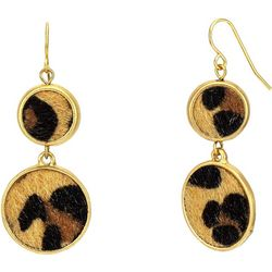 Bay Studio Leopard Print Double Round Disc Earrings