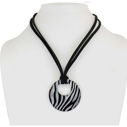Bay Studio 2 Row Black Cord & Zebra Striped Pendant Necklace