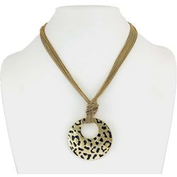 Bay Studio Gold Tone Leopard Embossed Medallion Necklace