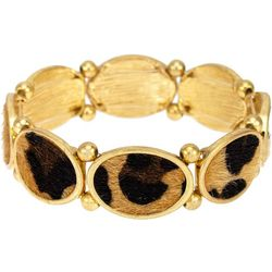 Bay Studio Leopard Print Oval Disc Stretch Bracelet