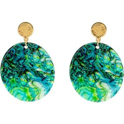 Printed Shell Post Top Drop Earrings