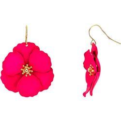 Bay Studio Fuchsia Pink Flower Drop Earrings