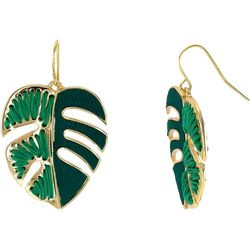 Bay Studio Green Palm Leaf Drop Earrings