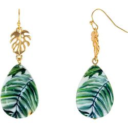Bay Studio Gold Tone Leaf & Leaf Print Earrings