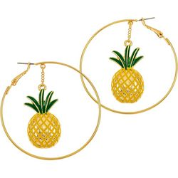 Pineapple Dangle Clutchless Hoop Earrin
