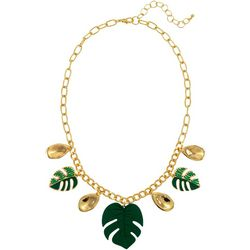 Green Palm Leaf Shaky Necklace