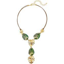 Palm Leaf & Shell Y Necklace