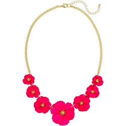 Bay Studio Matt Fuchsia Flower Frontal Necklace