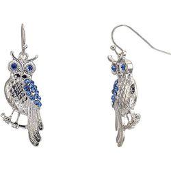 Bay Studio Blue Rhinestone Owl Drop Earrings