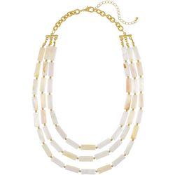 Bay Studio 3 Row White Shell Necklace