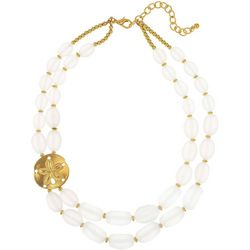 Bay Studio Sand Dollar White Frost Beaded Necklace