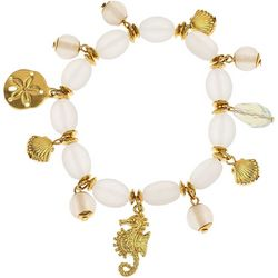 Bay Studio White Frosted Bead Sea Life Charm Bracelet