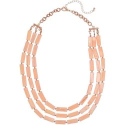 Bay Studio 3 Row Pink Shell Rectangle Necklace