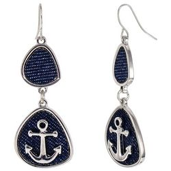 Bay Studio Navy Blue Anchor Double Drop Earrings