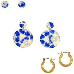 Bay Studio 3-Pc. Gold Tone Tie Dye Earrings