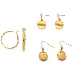 Bay Studio 3-Pk. Assorted Gold Tone Earrings