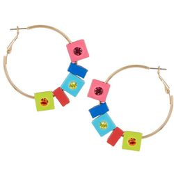 Bay Studio Multi Rhinestone Block Hoop Earrings