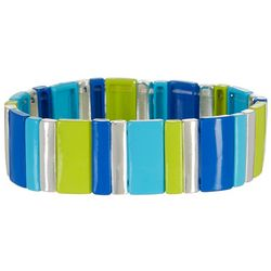 Bay Studio Blue Lime Wide Tile Stretch Bracelet