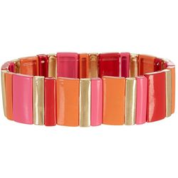 Bay Studio Pink Orange Tile Stretch Bracelet