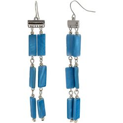 Bay Studio Blue Shell 2 Row Dangle Earrings