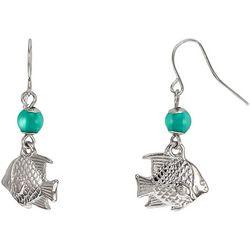 Bay Studio Aqua Bead Fish Drop Earrings