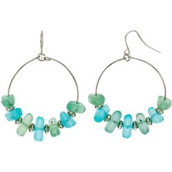 Bay Studio Aqua Blue & Green Beaded Wire Hoop Earrings
