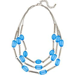 Bay Studio Blue Frosted Bead Frontal Necklace