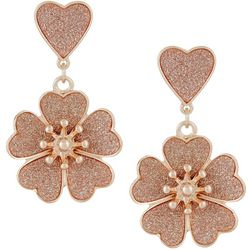 Bay Studio Rose Gold Tone Glitter Flower Drop Earrings