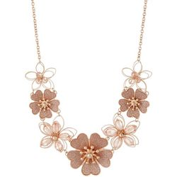 Bay Studio Rose Gold Tone Flower Front Statement Necklace