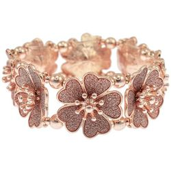 Bay Studio Pink Rose Gold Tone Glitter Flower Bracelet