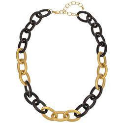 Bay Studio Matte Gold Tone And Black Large Links Necklace
