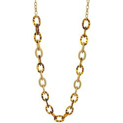 Bay Studio Matte Gold Tone And Tortoise Links  Necklace