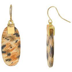 Bay Studio Goldtone Oblong Leopard Dangle Earrings