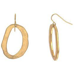Bay Studio Goldtone Matte Organic Open Oval Dangle Earrings