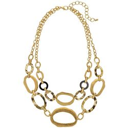 Bay Studio Matte Gold Tone And Tortoise Two Row Necklace