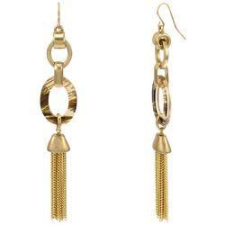 Bay Studio Goldtone Oval Links Fringe Dangle Earrings