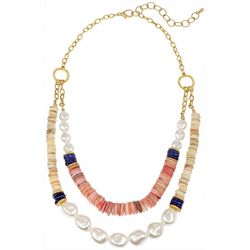Bay Studio Goldtone Two Row Shell & Pearl Statement Necklace