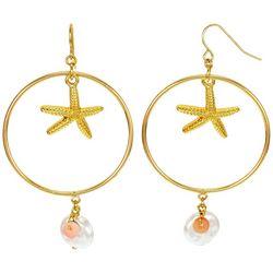 Bay Studio Goldtone Starfish Orbital Hoop Drop Earrings