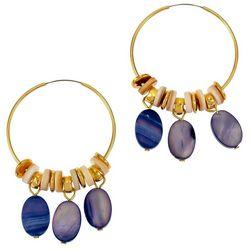 Bay Studio Gold Tone Shakey Ovals Hoop Earrings