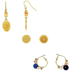 Bay Studio 3-Pc Goldtone Bead Accented Earring Set