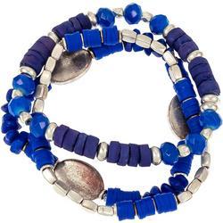 Three Row Beaded Silvertone Stretch Bracelet Set