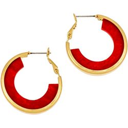 Bay Studio Wood Accent Goldtone Hoop Earrings