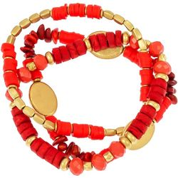 Bay Studio Three Row Beaded Faux Coral Stretch Bracelet Set