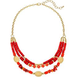 Bay Studio Coral Layered 3 Row Bead Shell Necklace