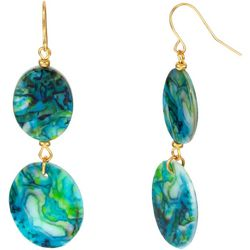 Double Disc Turquoise Abalone Drop Earrings